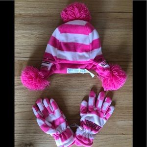 New Girls Hat and Gloves Set, size S/M 4-7